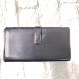 Lodi's black and red leather long wallet